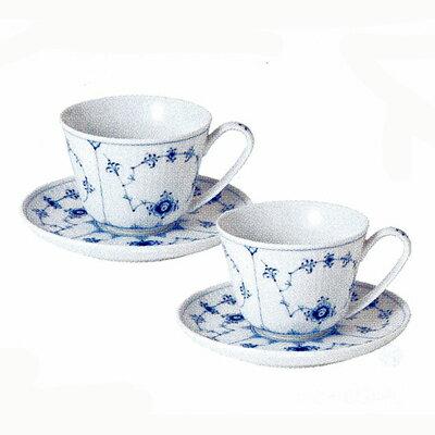 ロイヤルコペンハーゲン Royal Copenhagen ブルーフルーテッド プレイン ペアカップ&ソーサー(1101064×2)【ブランド/コーヒーカップ/ティーカップ/ペア/ギフト】