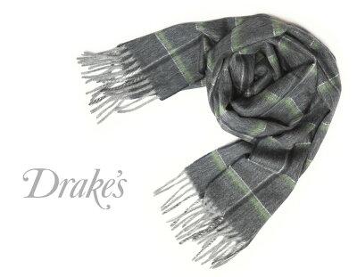 ■TRAD SALE!DRAKE'S / ドレイクス マフラー ( ネイビー×グリーンチェック ) 18764-001 【楽ギフ_包装】バーゲン