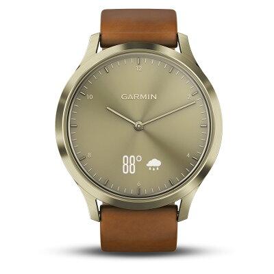 GARMIN ガーミン vivomove HR Gold Leather ヴィヴォムーヴ ウェアラブル ウォッチ 腕時計 活動量計 ウォーキング トレーニング ダイエット器具 歩数計 スポーツウォッチ 睡眠管理