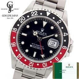 GMTマスター 腕時計(メンズ) 新品 2018年ギャラ付 ロレックス GMTマスターII 赤黒ベゼル 16710 T番 ステンレススチール製 黒文字盤 自動巻メンズ腕時計