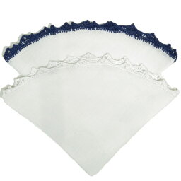 ムンガイ(ポケットチーフ) MUNGAI(ムンガイ)リネンソリッドレースフレームラウンドチーフE7-CE 18652006022