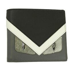 フェンディ 財布(メンズ) フェンディ 財布 ブラック/グレー 7M0169 FENDI 二つ折り札入れ メンズ バッグ バグズ レザー 7M0169 8FJ F06HP