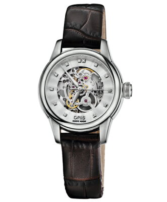 オリス アートリエ スケルトン 56076874019D レディース 腕時計 自動巻き ORIS Artelier Skeleton 560 7687 4019D レザーストラップ