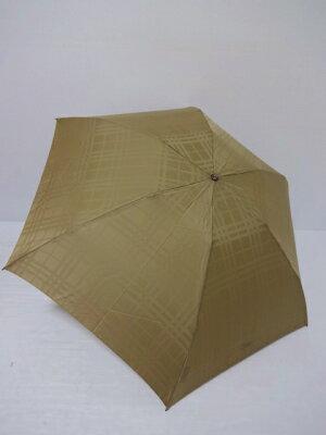 バーバリー BURBERRY シャドーチェック柄 UV 婦人折り畳み日傘 日本製 (ローアンバー)