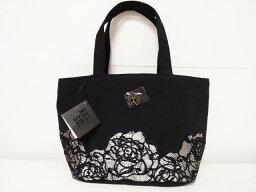 トートバッグ アナスイ ANNASUI 薔薇レース刺繍・蝶(バタフライ)モチーフ トートバッグ (黒)