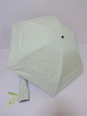 ANTEPRIMA アンテプリマ スカラップ刺繍縁取り 1級遮光生地使用 UV 晴雨兼用 婦人折り畳み日傘 (ライムグリーン)