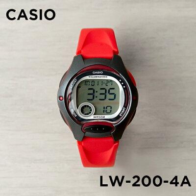 【10年保証】CASIO STANDARD DIGITAL LADYS カシオ スタンダード デジタル レディース LW-200-4A 腕時計 キッズ 子供 女の子 チープカシオ チプカシ プチプラ レッド 赤 ブラック 黒 海外モデル