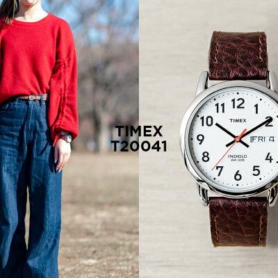 TIMEX EASY READER DAY DATE 35MM タイメックス イージーリーダー デイデイト 35MM T20041 腕時計 メンズ レディース アナログ シルバー ホワイト 白 レザー 革ベルト 海外モデル