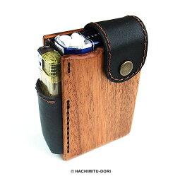 木製シガレットケース 電子タバコ 木製 ギフト 【NEW】木製ソフトシガレットケース 4タイプ【タバコケース たばこ ケース シガレットケース ライター マホガニー 木 ウッド 革 レザー 雑貨 LIFE SWEET D】ギフト ※名入れサービスは終了しました。