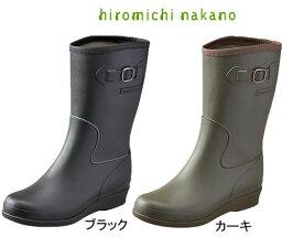 ヒロミチナカノ レインブーツ レインブーツ レインシューズ レディース ヒロミチ ナカノhiromichi nakano L015R ブラック ハーフ インヒール 長靴