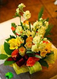 オレンジ 卒業 送別 にも プレゼント おまかせ 黄色オレンジ系フラワーアレンジメント 花 人気ランキング 花ギフト 花束 結婚記念日 (就任 送別 誕生日 などにも) バラ 還暦 39