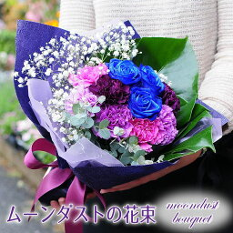 カーネーション 誕生日 プレゼント 花 ギフト 花束 青いカーネーションとブルーローズの花束 送料無料 プレゼント 青いバラ ムーンダスト