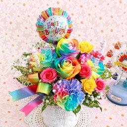バルーンフラワー レインボーローズ カーネーション バルーン フラワー ギフト 誕生日 母の日 生花 アレンジメント 03 S P1 rainbow68