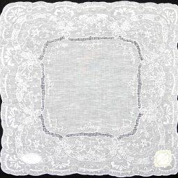 スワトウ 【送料無料】スワトウ ドロンワーク ハンカチ 2202 ホワイト 白 レディース