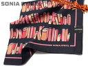 日本製 [13]ハンカチ SONIA RYKIEL(ソニア・リキエル) レディス 大判 本棚の柄 ネイビー地 シルク混 絹60% 綿40% 日本製 58cm ♪オ