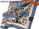 日本製 [17]ハンカチ SONIA RYKIEL(ソニア・リキエル) レディス 大判 花柄ボーダー ブルーグレー地 シルク混 絹60% 綿40% 日本製 58cm