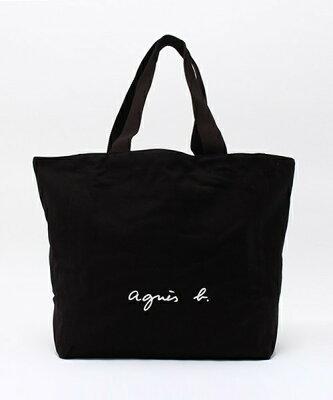 人気 BLACK 黒【agnes b. LOGO TOTE BAG アニエスベー トートバッグ ロゴバック カバン 日本国内正規品】
