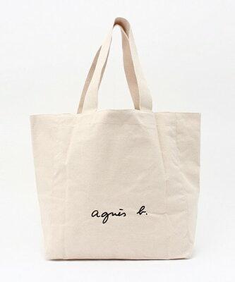 1番人気 アイボリー【agnes b. LOGO TOTE BAG アニエスベー トートバッグ ロゴバック 日本国内正規品】