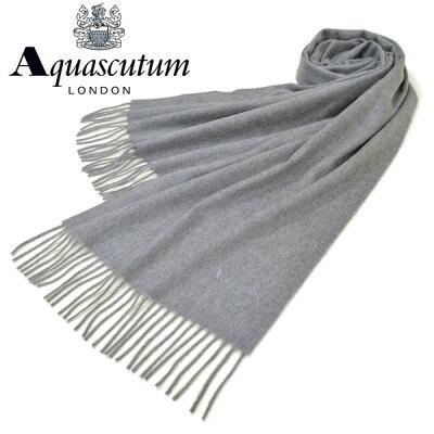 マフラー アクアスキュータム Aquascutum ストール メンズ/レディース カシミヤ サイズ180cm×37cm 中判 eam17w102 AQS80/499:グレー