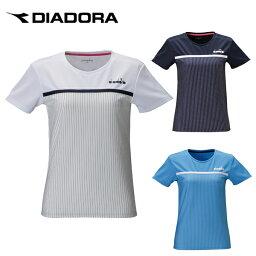 ディアドラ ディアドラ DIADORA テニスウェア バドミントンウェア Tシャツ 半袖 レディース ボーダートップ DTP0591