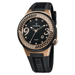 レディーローズ 腕時計(レディース) 【送料無料】クロックブラックゴールドレディローズアップ