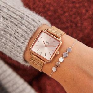 【送料無料】orologio cluse la garonne cl60013 donna oro rosa maglia milanese quadrato