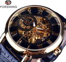 クリスマ 【送料無料】腕時計 ウォッチ レザーマンアラームクリスマスdiseo de lujo forsining 3d para hombre de cuero reloj negro dorado navidad regalos para l pap