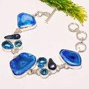 アガットのブレスレット(レディース) 【送料無料】ブレスレット アクセサリ— druzyトパーズジュエリーブレスレットsb1792blue agate druzy blue topaz gemstone fashion jewelry bracelet sb1792