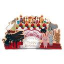 メッセージカード 誕生日 バースデーカード ライト付ミュージック立体カード 楽隊 B120-24 学研ステイフル 不思議ロウソクの灯が消える 誕生日カード Birthday Card グリーティングカード お誕生お祝い 立体カード