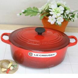 ルクルーゼ ココットオーバル ル・クルーゼ(Le Creuset) ココットオーバル 25cm チェリーレッド (日本正規販売品)