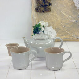 マグカップ ル・クルーゼ ストーンウェア ティーポット&マグ SS 2個入り セット ホワイトラスター 910296-00-926 (日本正規販売品)