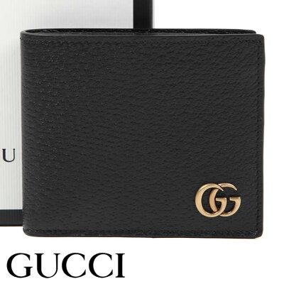 グッチ 財布 GUCCI 二つ折り財布 小銭入れなし GGマーモント メンズ ブラック 428726-DJ20T-1000 【お取り寄せ】【送料無料】