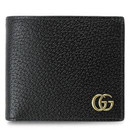グッチ 財布(メンズ) グッチ 折財布 メンズ GUCCI 428725 DJ20T 1000 財布 二つ折り GGマーモント ダブルG レザー ブラック 黒