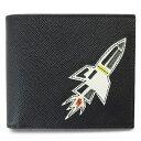 プラダ 財布(メンズ) プラダ 折財布 PRADA メンズ ロケット 小銭入れなし レザー ブラック 黒 2MO513 SAFFIANO ROCKET NERO
