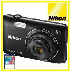 COOLPIX 【今ならSDHCカード8GB付き】Nikon・ニコン デジカメ Wi-Fi内蔵光学8倍ズーム クールピクス COOLPIX A300 BK ブラック【楽ギフ_包装】【***特別価格***】