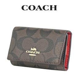 コーチ キーケース コーチ COACH レディース 小物 キーケース F77998 IML72(ブラウン×トゥルーレッド)