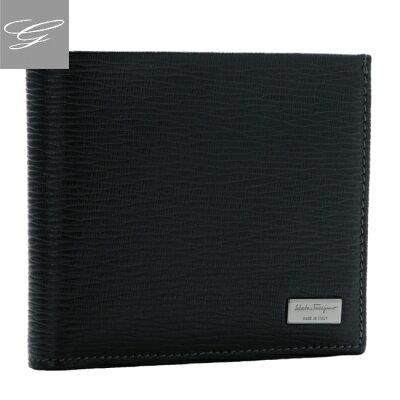 フェラガモ 2つ折り財布 FERRAGAMO メンズ 財布 リバイバル 型押しカーフスキン ブラック 667070-0007-0010