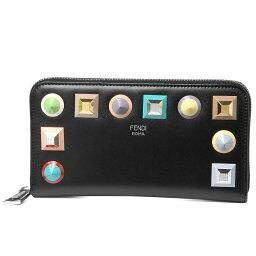 フェンディ 財布(レディース) フェンディ FENDI 財布 レディース 8M0299 SR0 F0JBX ラウンドファスナー長財布 NERO+MLC+PALLADIO ブラック