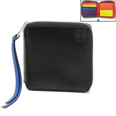 ロエベ LOEWE 財布 レディース 199 54 M88 2080 9991 ラウンドファスナー二つ折り財布 MULTICOLOR/BLACK ブラック