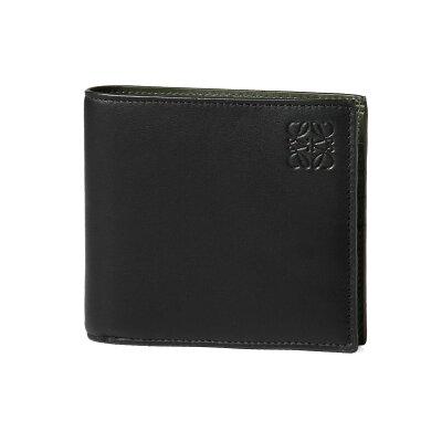 ロエベ LOEWE 財布 メンズ 109 80 302 1100 1217 二つ折り財布 BLACK/KHAKI GREEN ブラック