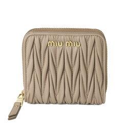ミュウミュウ 革二つ折り財布 レディース ミュウ ミュウ MIU MIU 財布 レディース 5ML522 N88 F0770 二つ折り財布 MATELASSE CAMMEO ベージュ