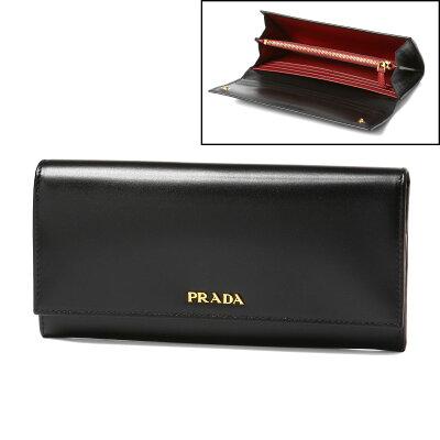 プラダ PRADA 財布 レディース 1MH132 309 F0D9A 二つ折り長財布 BOX CALF NERO+FUOCO ブラック