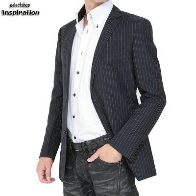 <クーポン配布中>バーバリーブラックレーベル ジャケット ストライプ BURBERRY black label 紺 d1e22315-29 メンズ 紳士