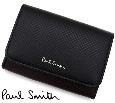 PaulSmith ポールスミス PWU703 10 レザー カードケース 名刺入れ ブラック×エンジ×ネイビー【送料無料】