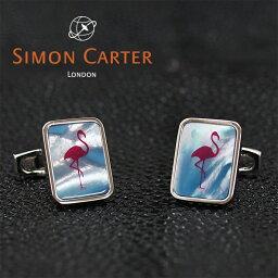 サイモン・カーター(カフス) SIMON CARTER サイモンカーター カフス カフリンクス カフスボタン PINK FLAMINGO ブルー×シルバー BLUE MOP フラミンゴ サイモンカーター カフス カフスボタン メンズ