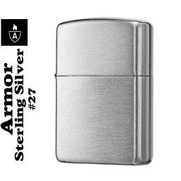 純銀製Zippo (キャッシュレス5%還元) zippo アーマー ジッポ ライター スターリングシルバー NO.27 純銀 サテン仕上げ ジッポーライター ジッポー lighter Armor ARMOUR 送料無料