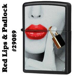 セクシーZippo zippo(ジッポーライター) #29089 Red Lips & Padlock Black Matte/Zippoケース刻印不可商品