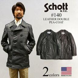 ショット ショット SCHOTT 140 メンズ レザー ダブル ピーコート (アメリカ製 米国製 防寒 PEA-COAT Pコート レザーコート)