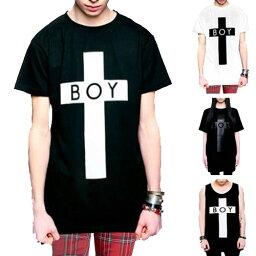 ボーイロンドン boylondon ボーイロンドン longclothing ロングクロージング Tシャツ BOYロゴ+クロスのコラボTシャツ ビックtシャツ タンクトップ パンク ロックtシャツ ロック ファッション メンズ 黒 ブラック tシャツ BOY LONDON ストリート ビッグティーシャツ キャッスレス還元 秋 冬