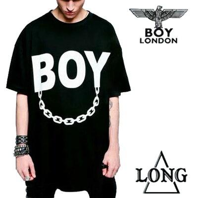 BOYLONDON(ボーイロンドン)long clothing(ロングクロージング)ロゴ+チェーンのコラボTシャツ ビッグtシャツ (パンク ロック ファッション longclothing ロックtシャツ バンドtシャツ メンズ 半袖 黒 ブラック ロング丈 boy london パンクファッション
